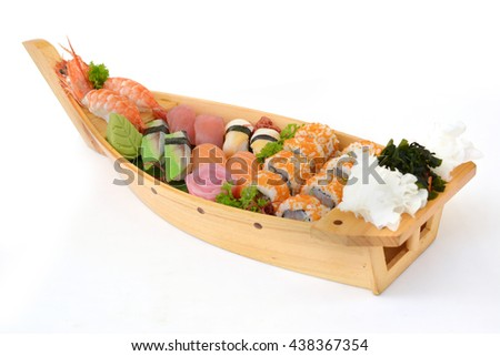 Japan assorted seafood sashimi sushi on boat