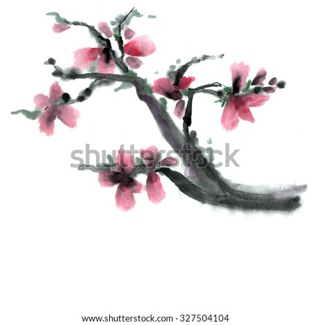 Japan branch in traditional painting sumi-e - stock photo
