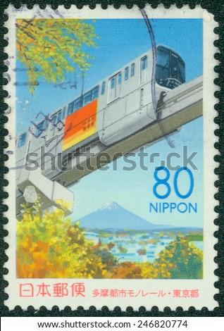 JAPAN - CIRCA 2000: A stamp printed in japan shows Maglev, circa 2000 - stock photo