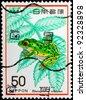 JAPAN - CIRCA 1977: A stamp printed in Japan shows Rhacophorus arboreus, circa 1977 - stock photo