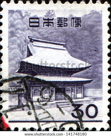 JAPAN - CIRCA 1962: A stamp printed in  Japan shows Shari-den of Engakuji, Zen Buddhist Temple Complex, Kamakura, circa 1962