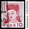 JAPAN - CIRCA 1953: a stamp printed in the Japan shows Goddess Kannon, God or Goddess of Mercy, circa 1953 - stock photo