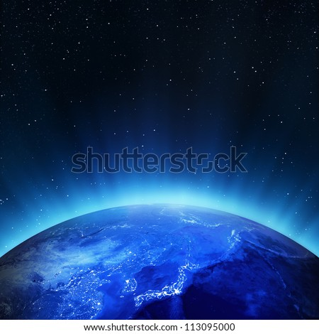 Japan city lights. Elements of this image furnished by NASA - stock photo