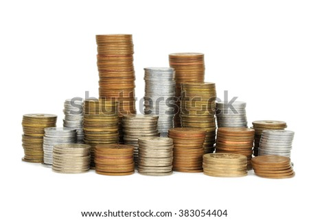 japan coins arranged on a white background - stock photo