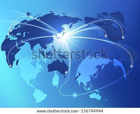 Japan connected globally all over the world - stock photo