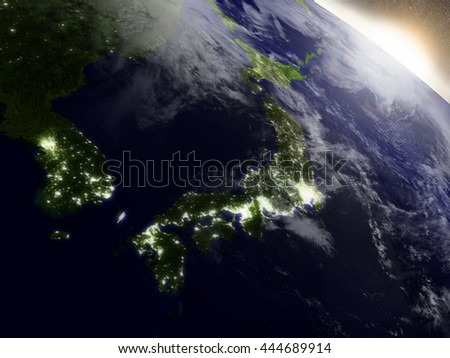 Japan during sunrise as seen from Earth's orbit in space. 3D illustration with highly detailed realistic planet surface, clouds and city lights. Elements of this image furnished by NASA. - stock photo