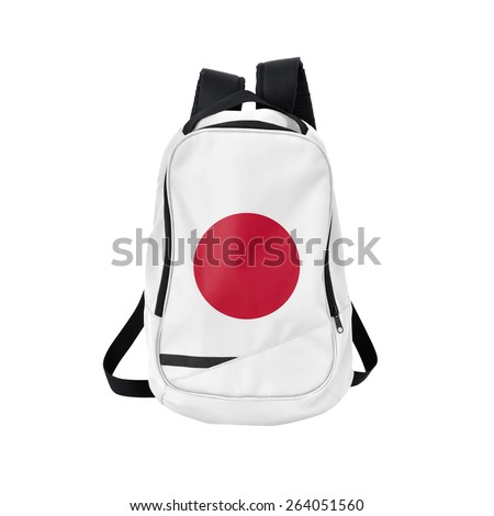 Japan flag backpack isolated on white background. Back to school concept. Education and study abroad. Travel and tourism in Japan - stock photo