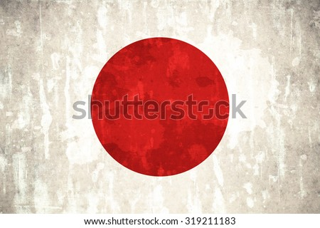 Japan flag on concrete textured background
