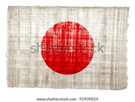 Japan flag on original papyrus background - stock photo