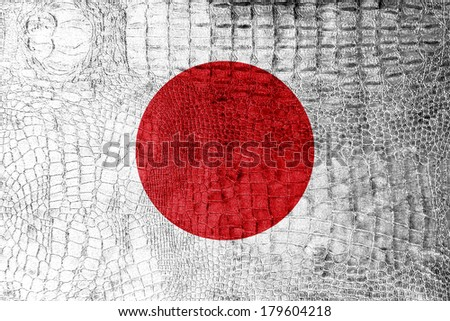 Japan Flag painted on luxury crocodile texture
