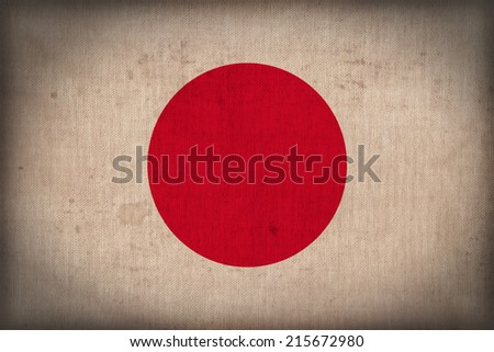 Japan flag pattern on the fabric texture ,retro vintage style