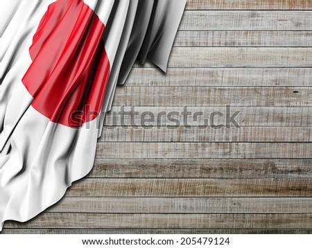 Japan Flag with horizontal wood - stock photo
