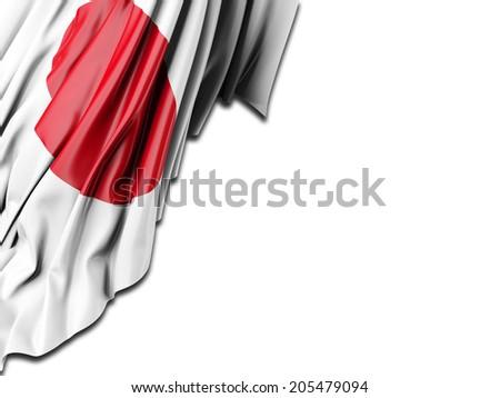 Japan Flag with white - stock photo