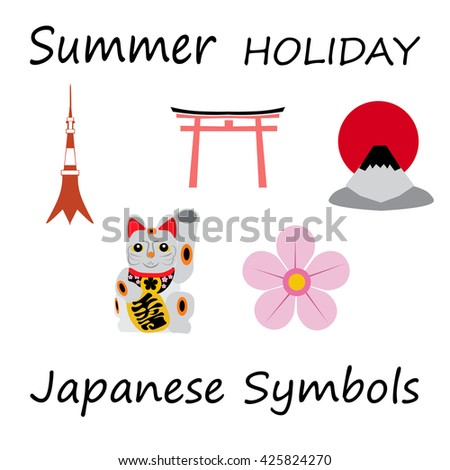 Japan Flat Icons Design Travel Concept.raster - stock photo