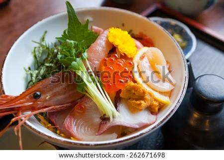 Japan food sashimi on the rice - stock photo