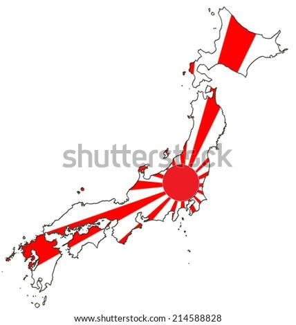 Japan Map Flag Stock Illustration Shutterstock - Japan map flag