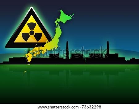 japan map fukushima radioactivity sign illustration - stock photo