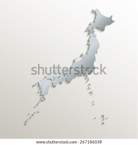 Japan map white blue card paper 3D raster - stock photo