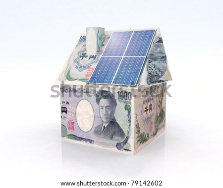 japan money home with solar panel concept financing - stock photo