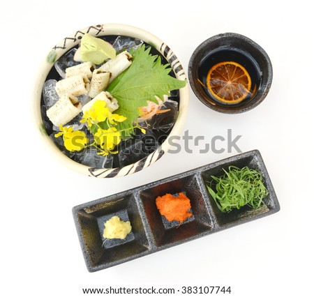 Japan sashimi fresh fish seafood on bowl, Anago on bowl