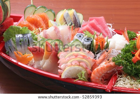 japan sashimi set mix - stock photo