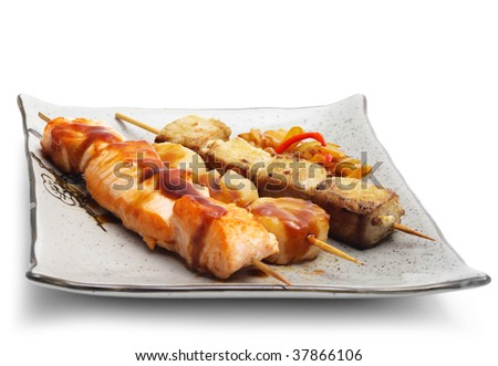 Japan Skewered Tuna, Salmon and Scallop with Vegetables - stock photo