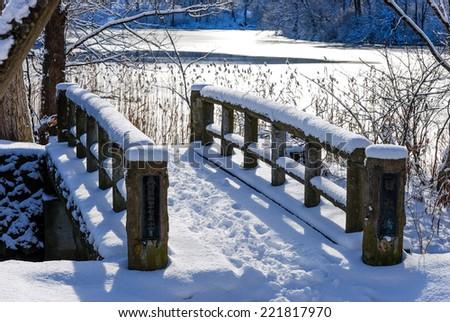 Japan Small Bridge in Snow Scene - stock photo