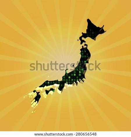 Japan sunburst map with hex code illustration - stock photo