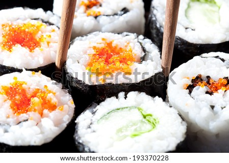 japan sushi rolls, close view, selective focus - stock photo