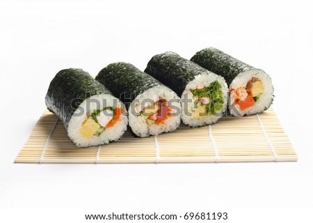 Japan sushi rolls isolated on white background - stock photo