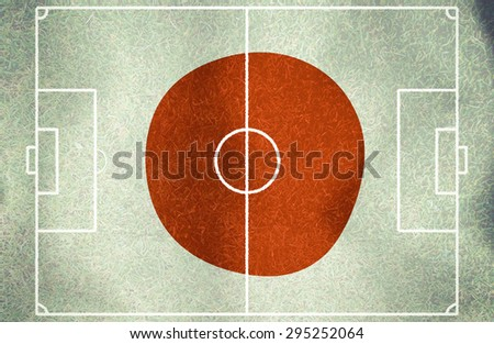 japan symbol soccer ball vintage color