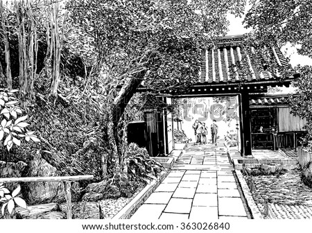Japan temple gate. Black and white dashed style sketch, line art, drawing with pen and ink. Retro vintage picture.