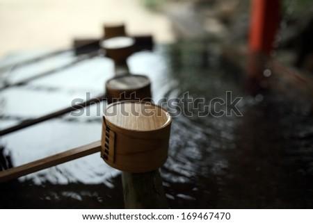 Japan temple ladles - stock photo