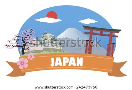 Japan. Tourism and travel. Raster version - stock photo
