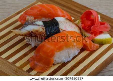 Japan traditional cusine - fresh cold sushi set