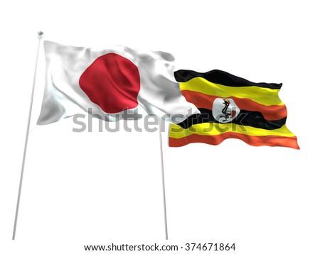 Japan & Uganda Flags are waving on the isolated white background - stock photo