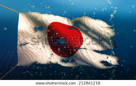 Japan Under Water Sea Flag National Torn Bubble 3D - stock photo