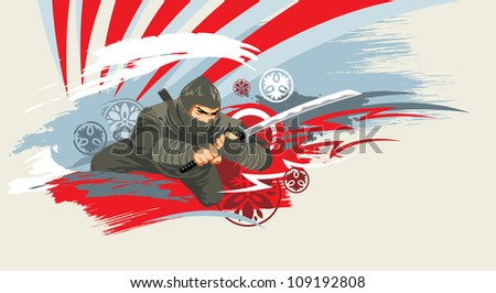 japan vector warrior on grunge background - stock photo