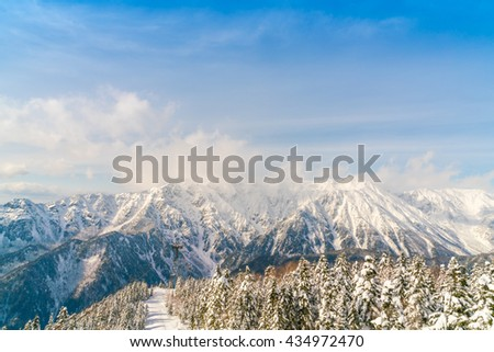 Japan Winter mountain with snow covered - stock photo