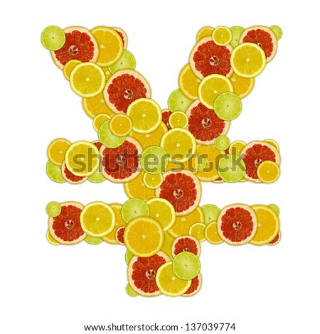 Japan yen sign of citrus fruit slices - stock photo