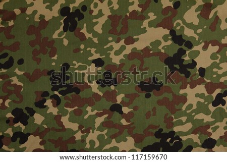 Japanese armed force flecktarn camouflage fabric texture background - stock photo