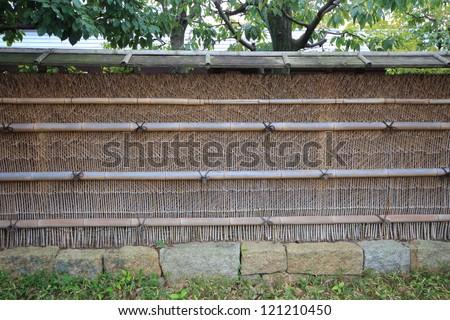 japanese bamboo fence - stock photo