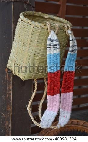 Japanese basketry pocket - stock photo