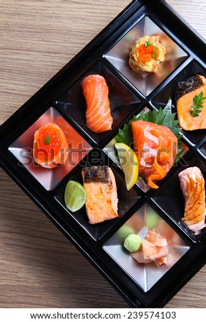 Japanese Bento Lunch - Salmon sashimi