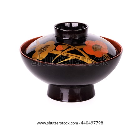 japanese bowl  isolated on white background - stock photo