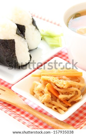 Japanese breakfast-Onigiri and Miso soup wth kiriboshi-daikon  - stock photo