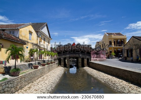 Japanese Bridge in Hoi An, Vietnam. Hoi an is recognized as a World Heritage Site by UNESCO. - stock photo