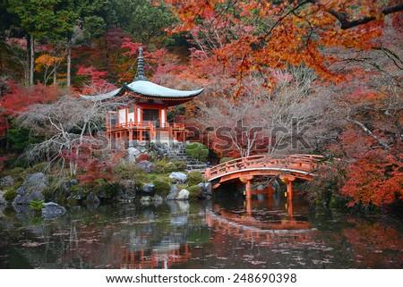 japanese building in Daigoji temple in kyoto with autumn scene - stock photo