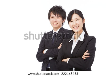 Japanese businesswoman and businesswoman crossing arms