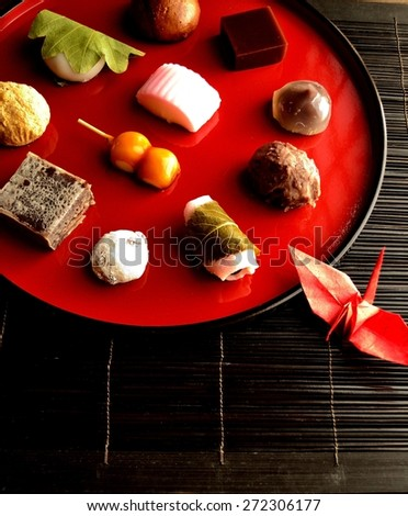Japanese cake with origami crane.image of Japanese traditional culture.